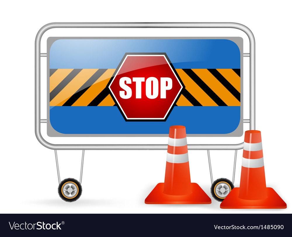 Traffic barrier stop sign with red cones vector | Price: 1 Credit (USD $1)