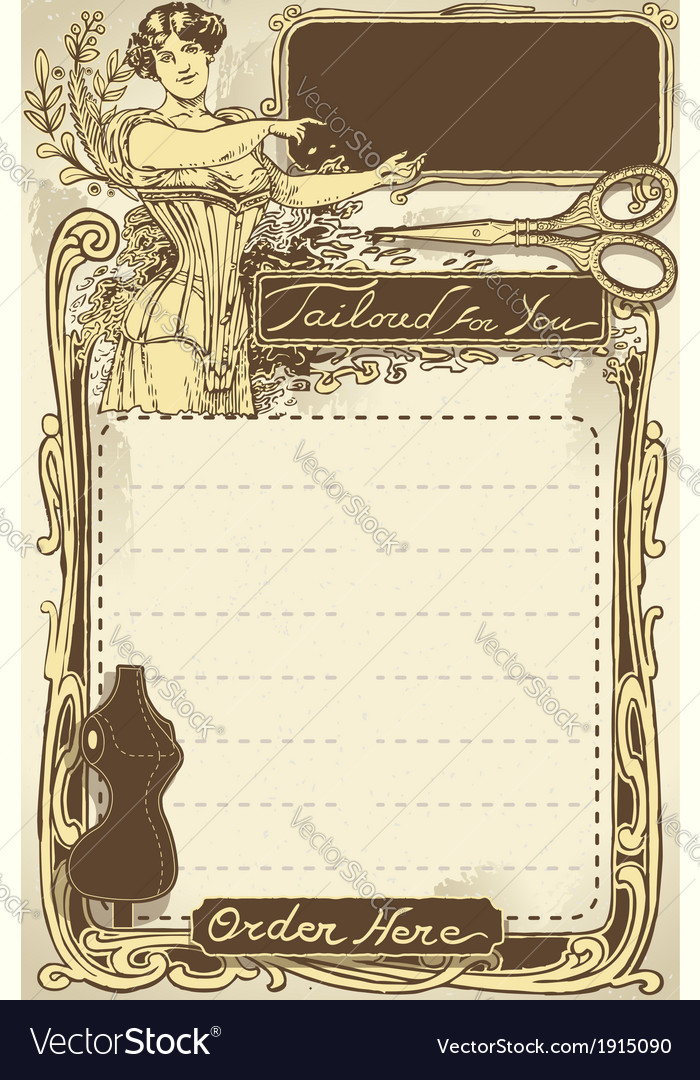 Vintage page for tailor shop vector | Price: 1 Credit (USD $1)