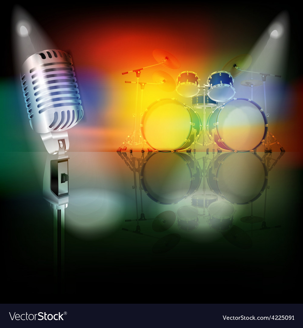 Abstract background with retro microphone and drum vector | Price: 3 Credit (USD $3)