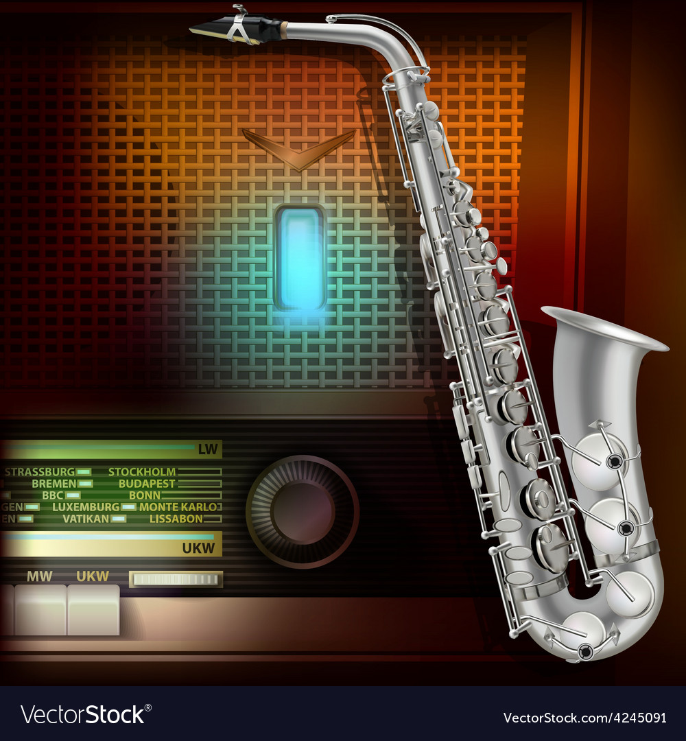 Abstract music background with saxophone and retro vector | Price: 3 Credit (USD $3)