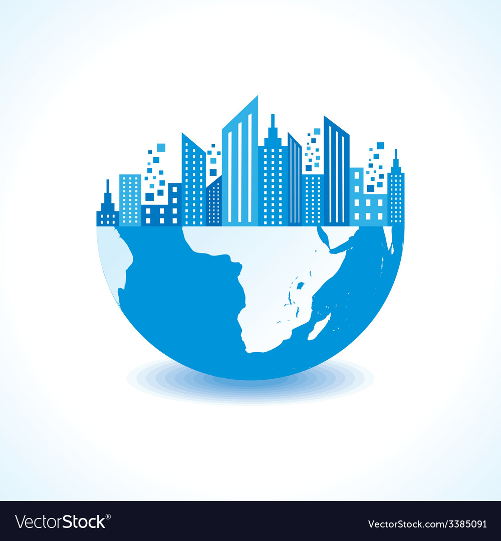 Blue cityscape on half earth vector | Price: 1 Credit (USD $1)