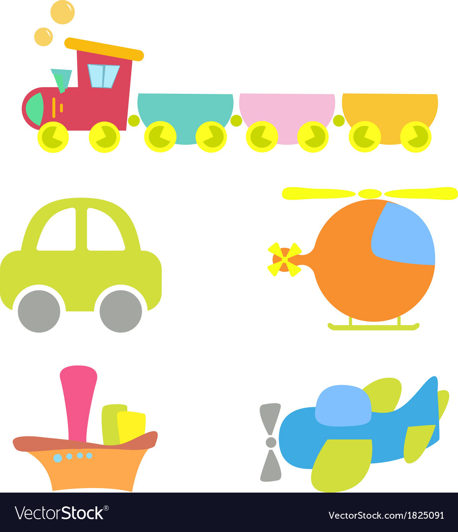 Cartoon baby transport set isolated on white vector | Price: 1 Credit (USD $1)