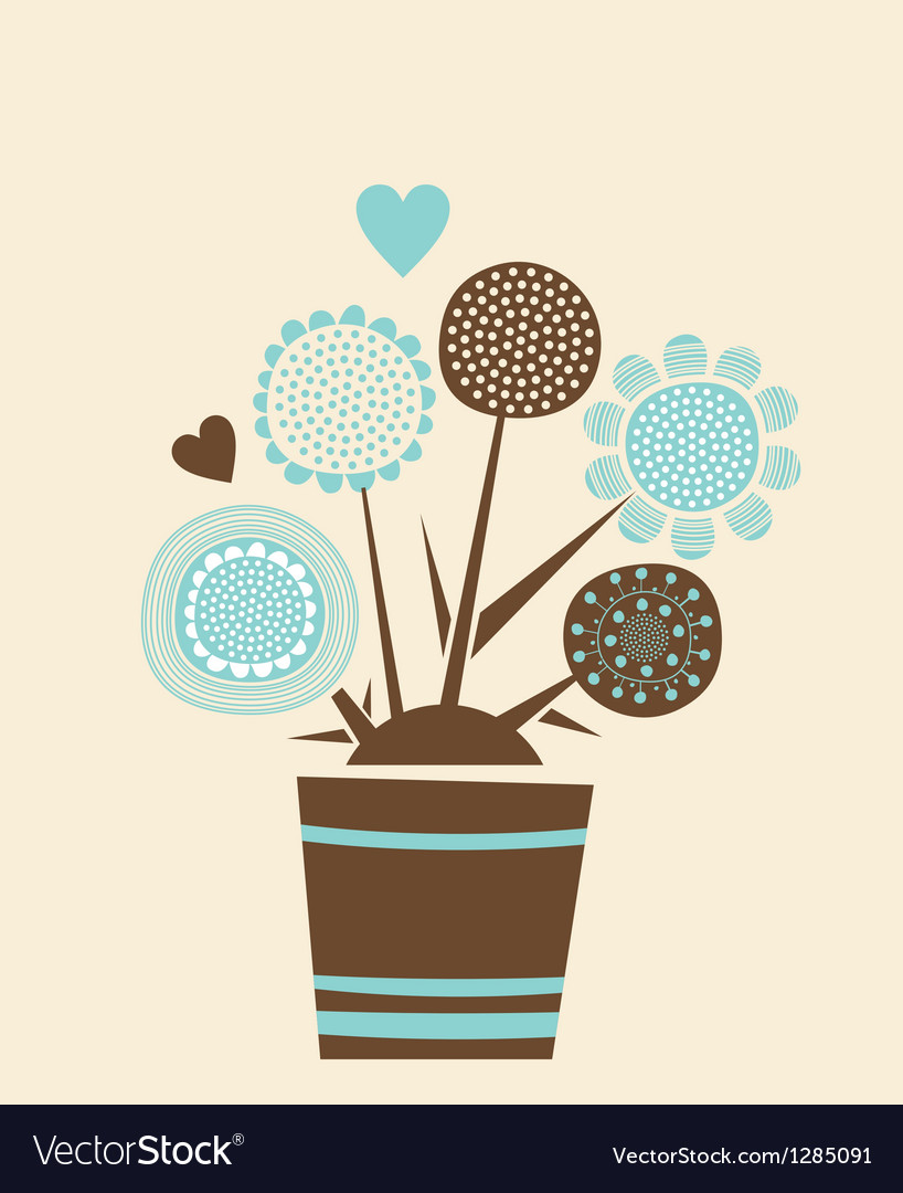 Decorative flowers pot vector | Price: 1 Credit (USD $1)