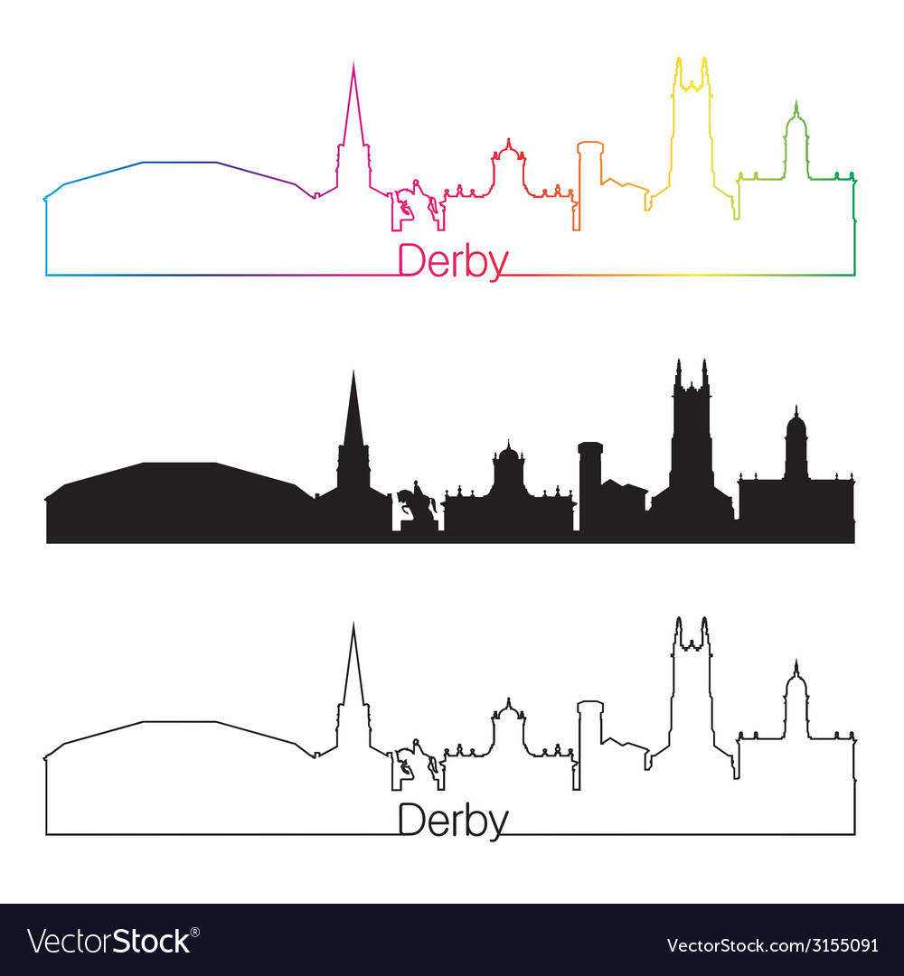 Derby skyline linear style with rainbow vector | Price: 1 Credit (USD $1)