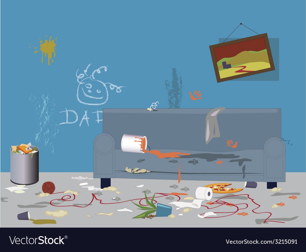 Dirty messy room vector | Price: 1 Credit (USD $1)