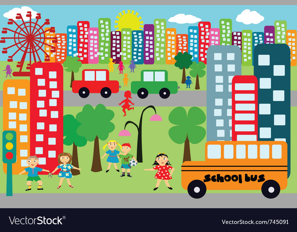 Doodle city for children vector | Price: 1 Credit (USD $1)