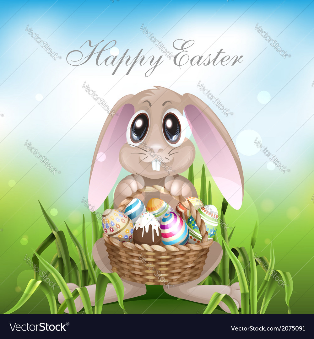 The easter bunny with a basket full vector | Price: 1 Credit (USD $1)