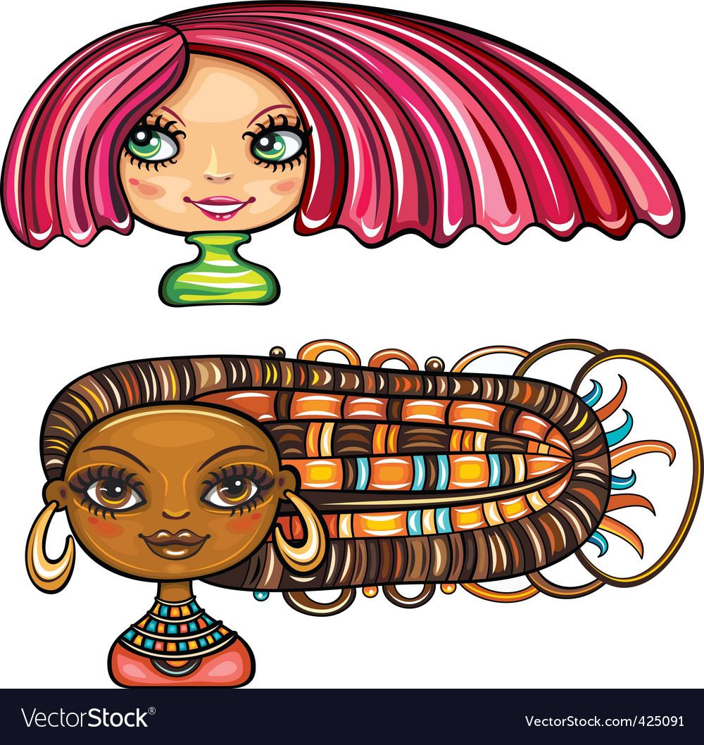 Girls with cool hair style vector | Price: 3 Credit (USD $3)