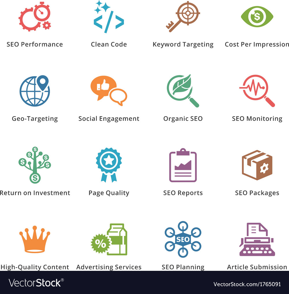 Seo and internet marketing colored icons - set 4 vector | Price: 1 Credit (USD $1)