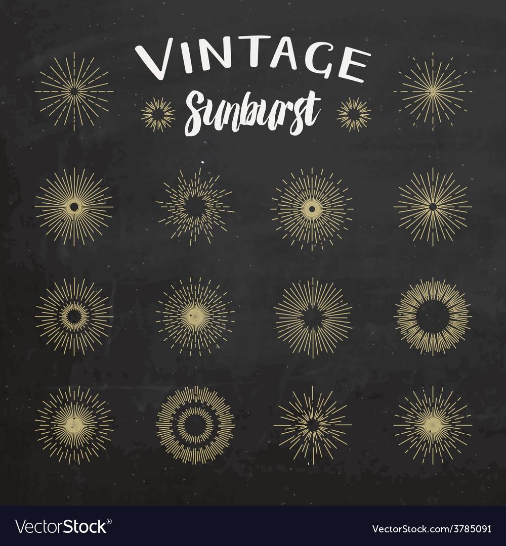 Vintage sunburst on chalkboard background vector | Price: 1 Credit (USD $1)