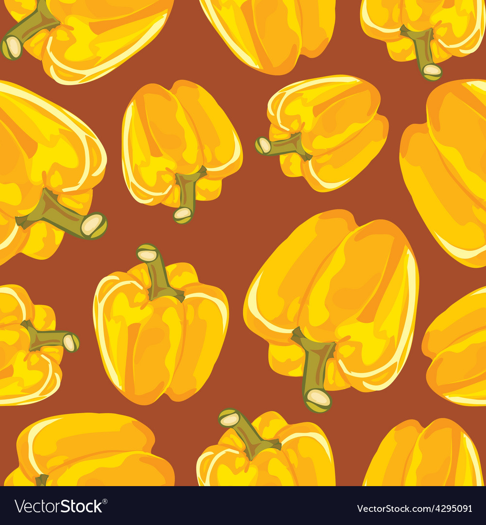 Yellow bell pepper seamless background vector | Price: 1 Credit (USD $1)