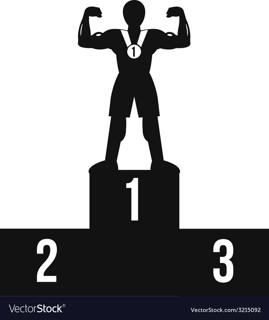 Bodybuilder on winner podium black icon vector | Price: 1 Credit (USD $1)