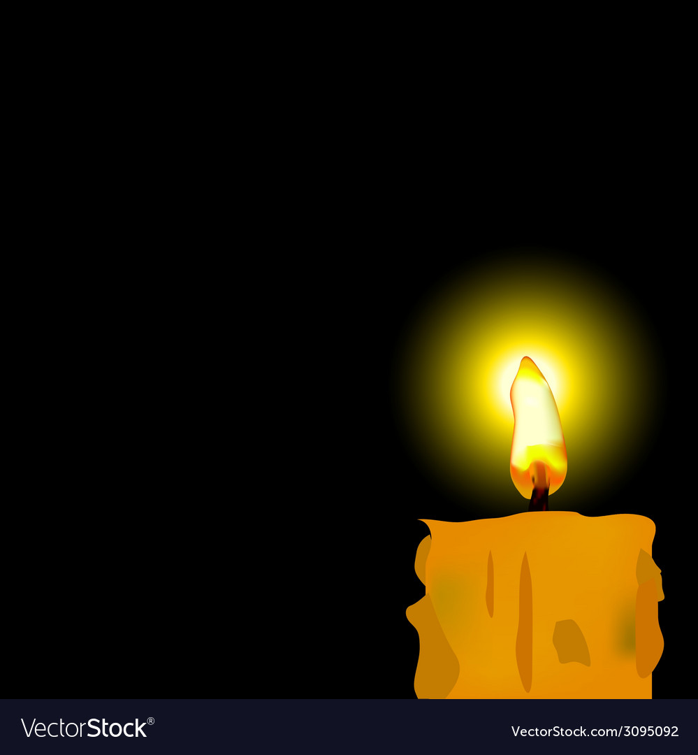 Burned candle on black background vector | Price: 1 Credit (USD $1)