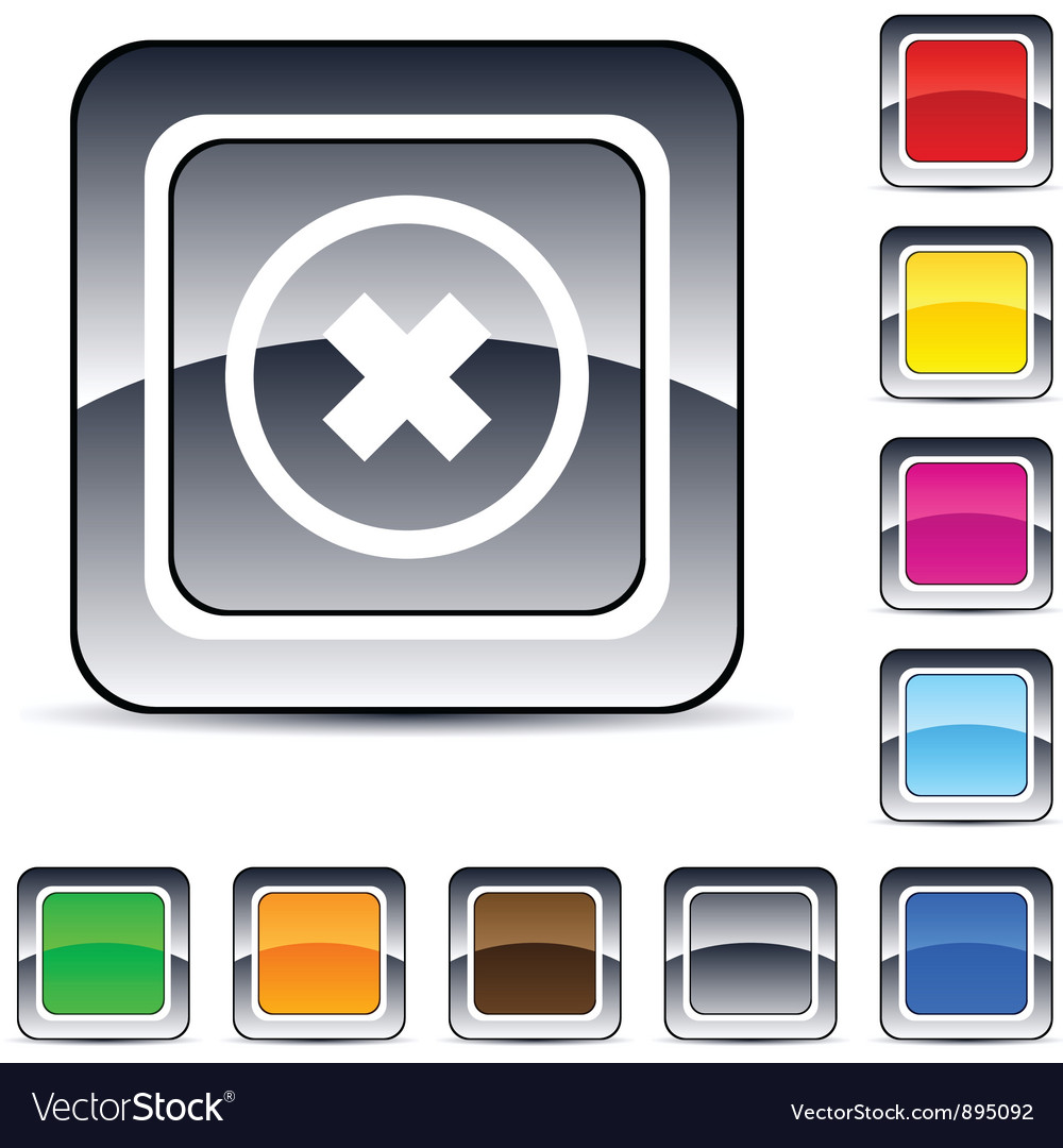 Delete cross square button vector | Price: 1 Credit (USD $1)