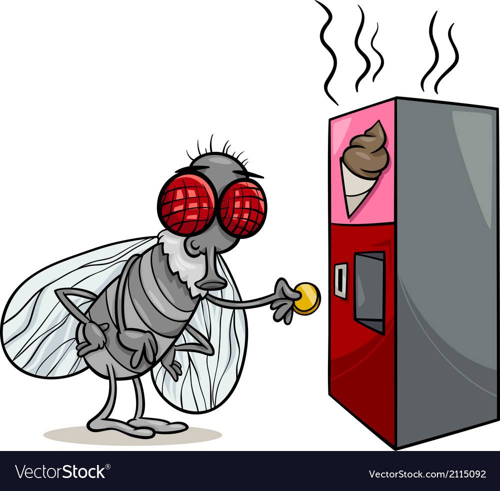 Fly and vending machine cartoon vector | Price: 1 Credit (USD $1)