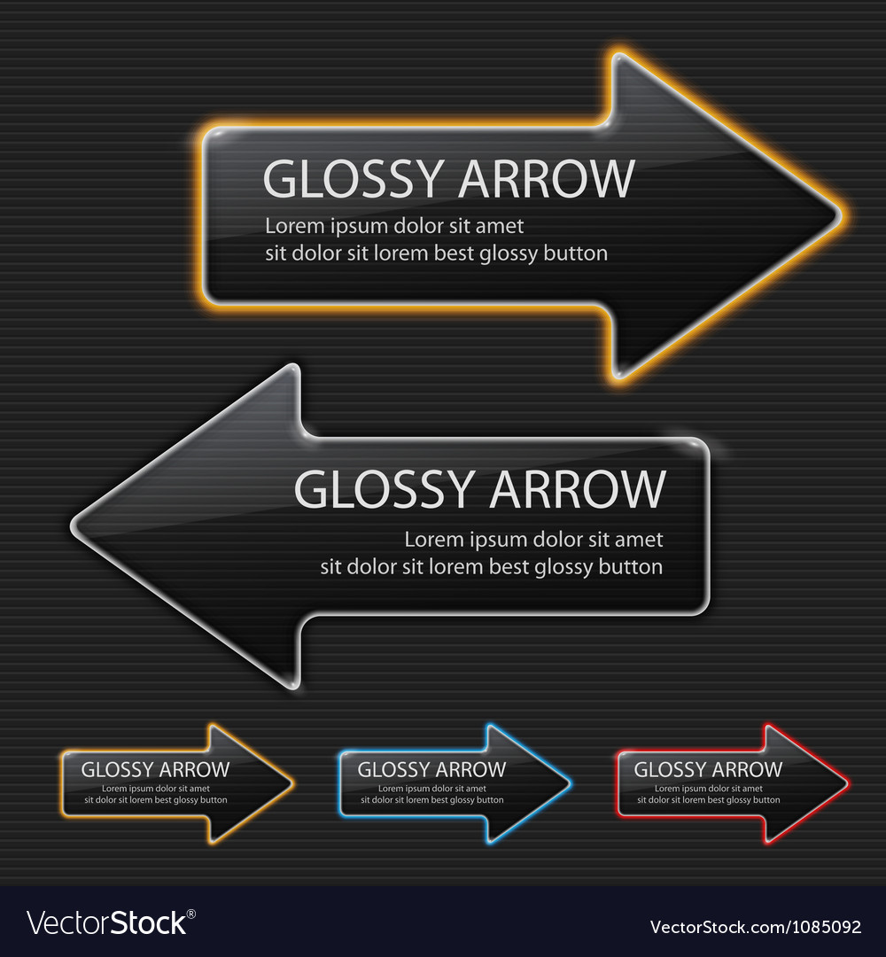 Glossy arrow on black background vector | Price: 1 Credit (USD $1)