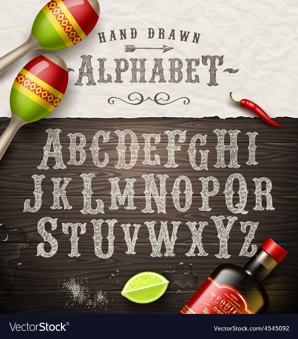 Hand drawn vintage alphabet old mexican signboard vector | Price: 3 Credit (USD $3)