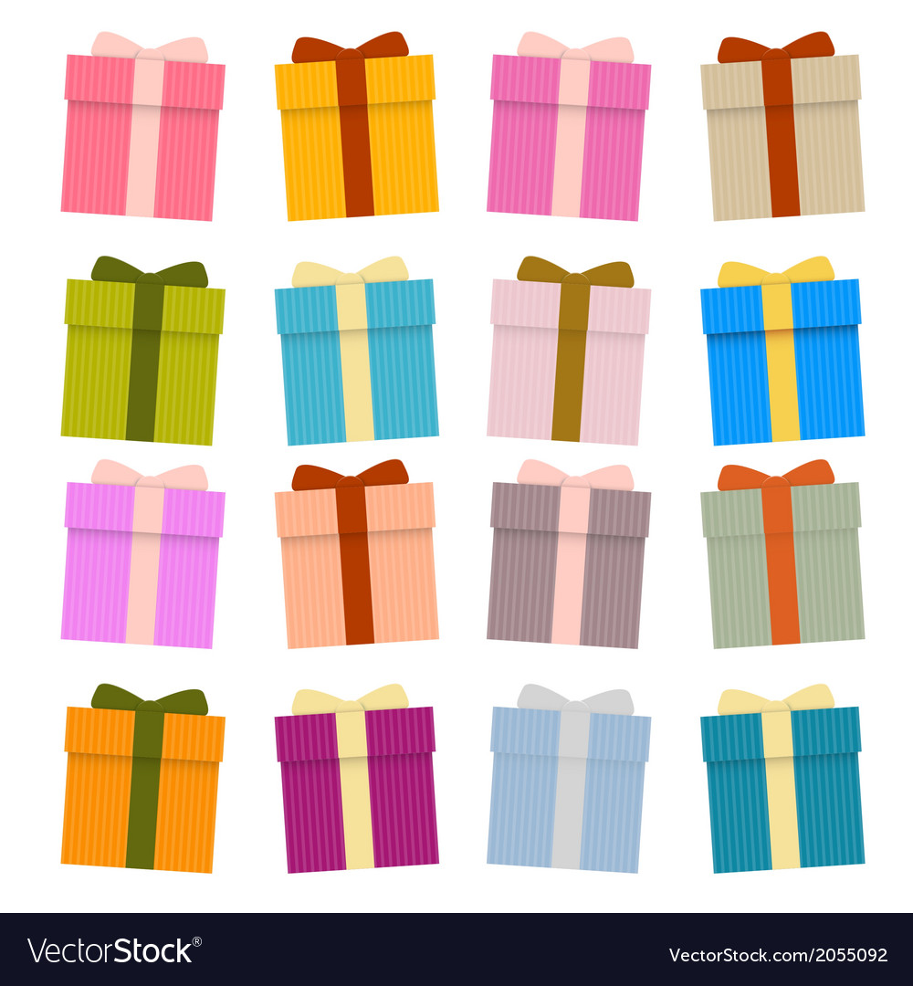 Present boxes gift boxes set isolated on white vector | Price: 1 Credit (USD $1)