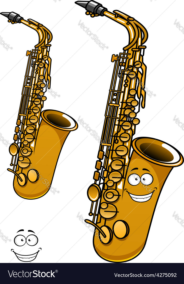 Shining brass saxophone cartoon character vector | Price: 1 Credit (USD $1)