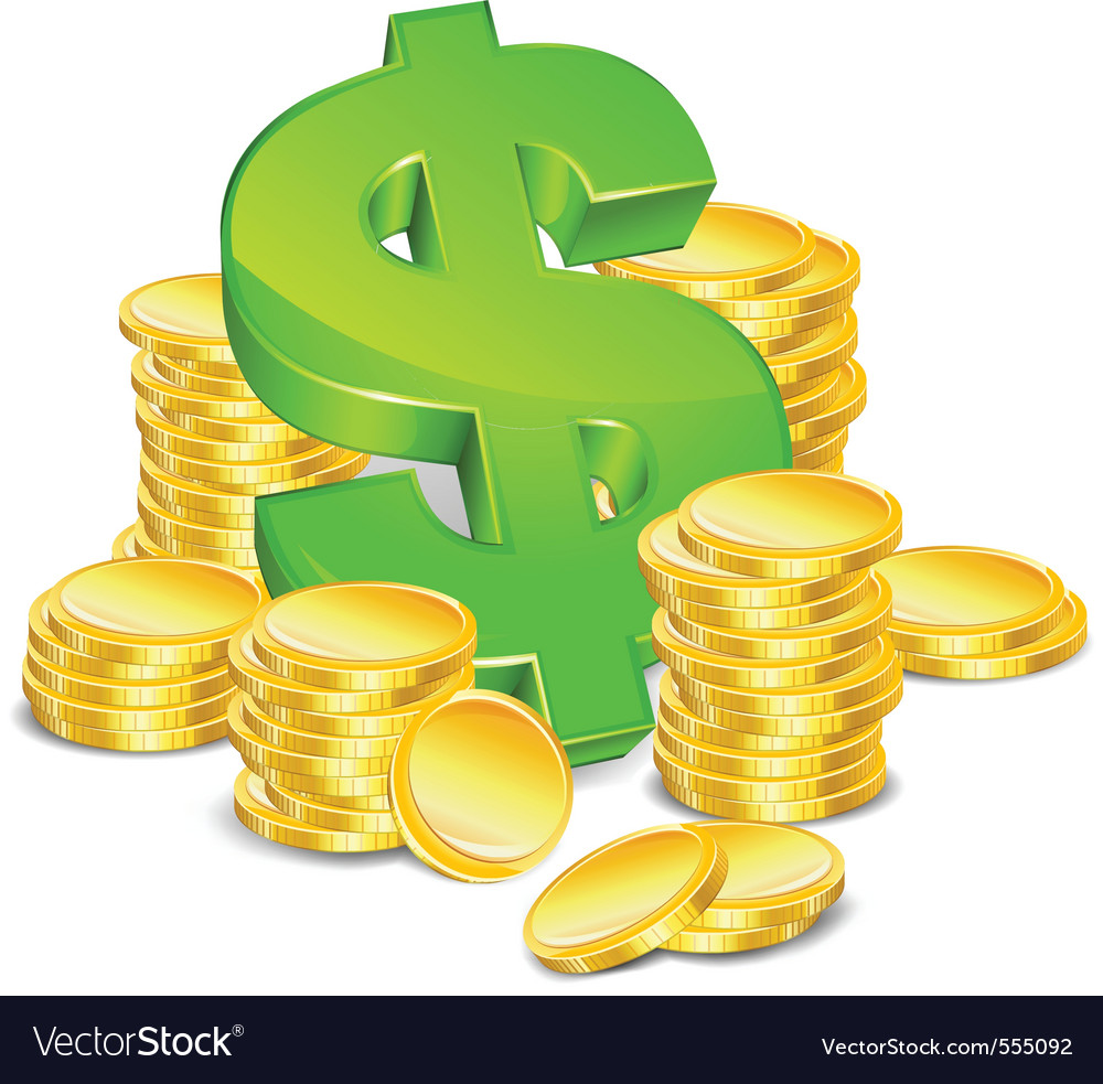 Sign dollar and gold coins vector | Price: 1 Credit (USD $1)