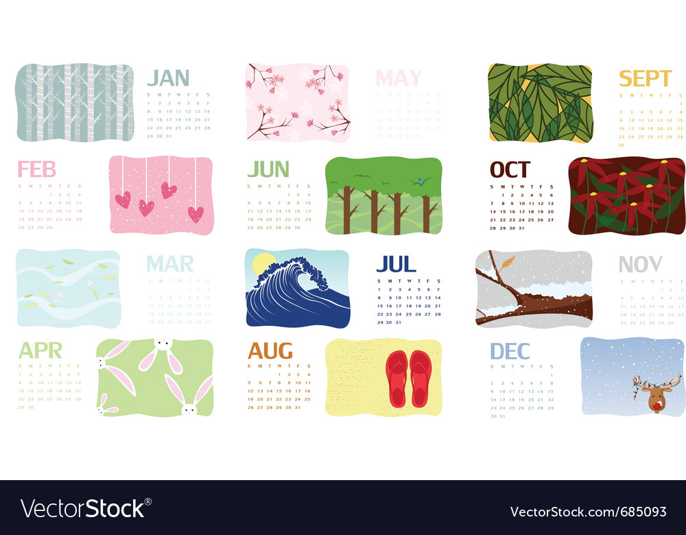 2012 illustrated calendar vector | Price: 1 Credit (USD $1)