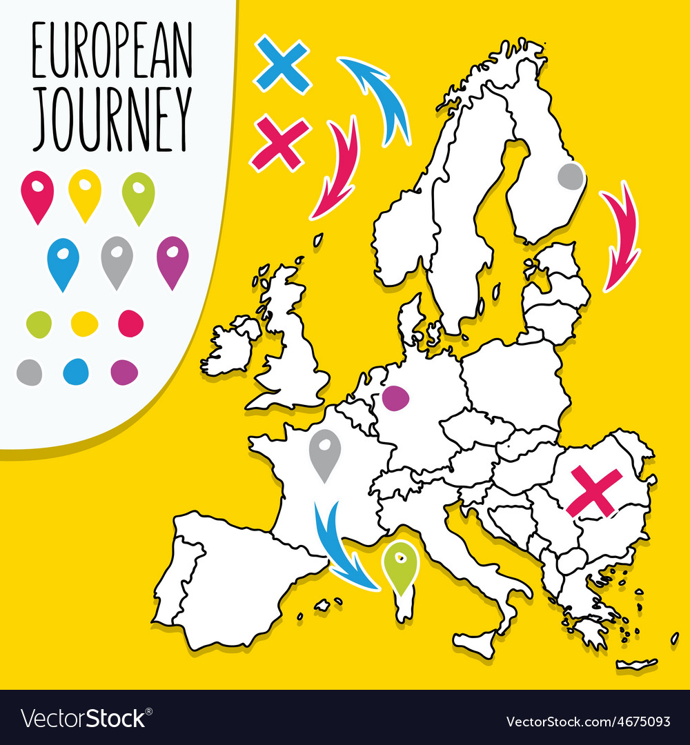 Cartoon style hand drawn travel map of europe with vector | Price: 1 Credit (USD $1)