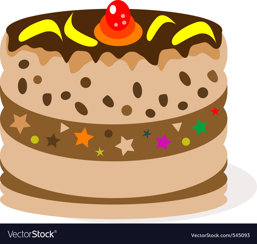 Celebratory chocolate cake with bananas vector | Price: 1 Credit (USD $1)