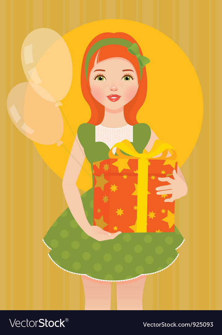 Girl with a gift for his birthday vector | Price: 3 Credit (USD $3)