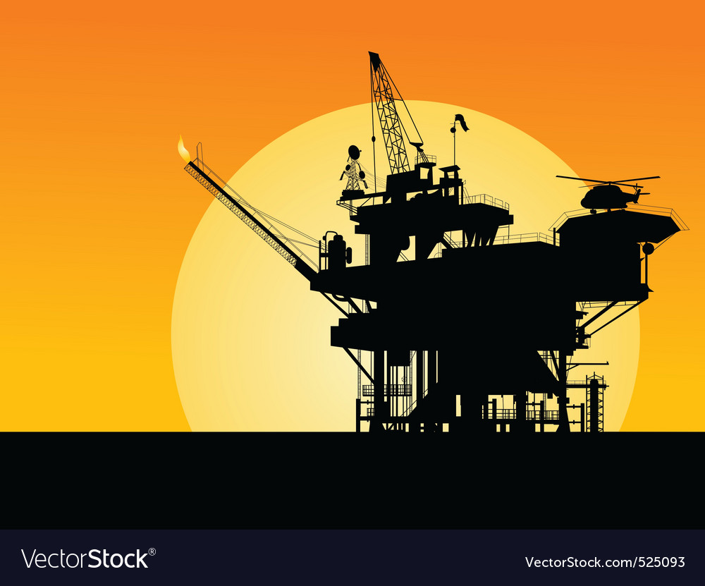 Oil platform silhouette vector | Price: 1 Credit (USD $1)