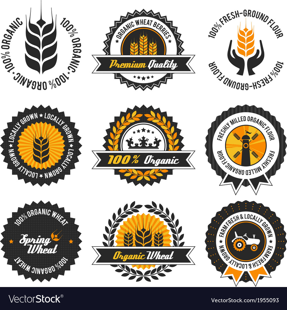 Organic wheat label set vector | Price: 1 Credit (USD $1)