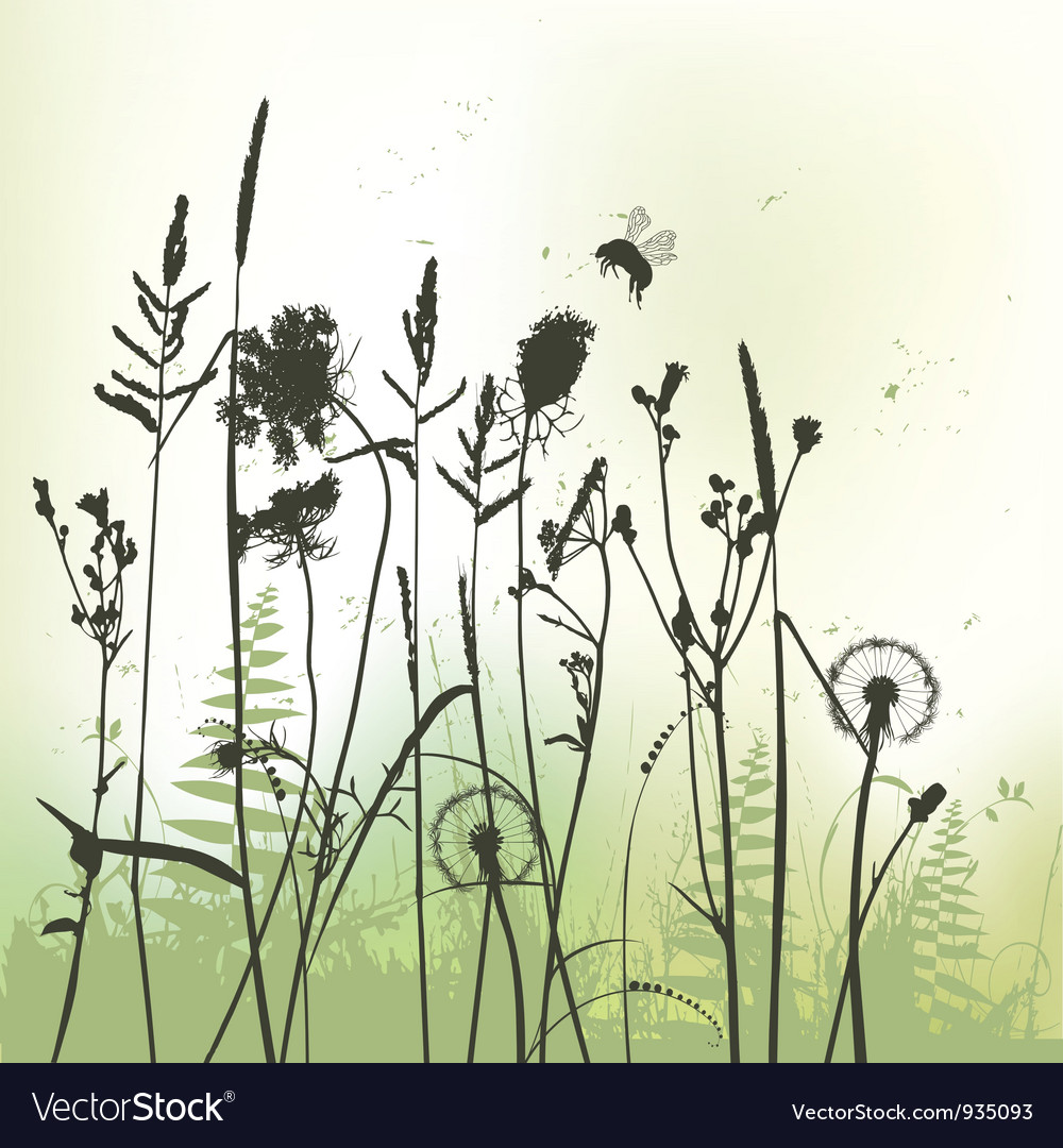 Real grass silhouette with bumblebee vector | Price: 1 Credit (USD $1)