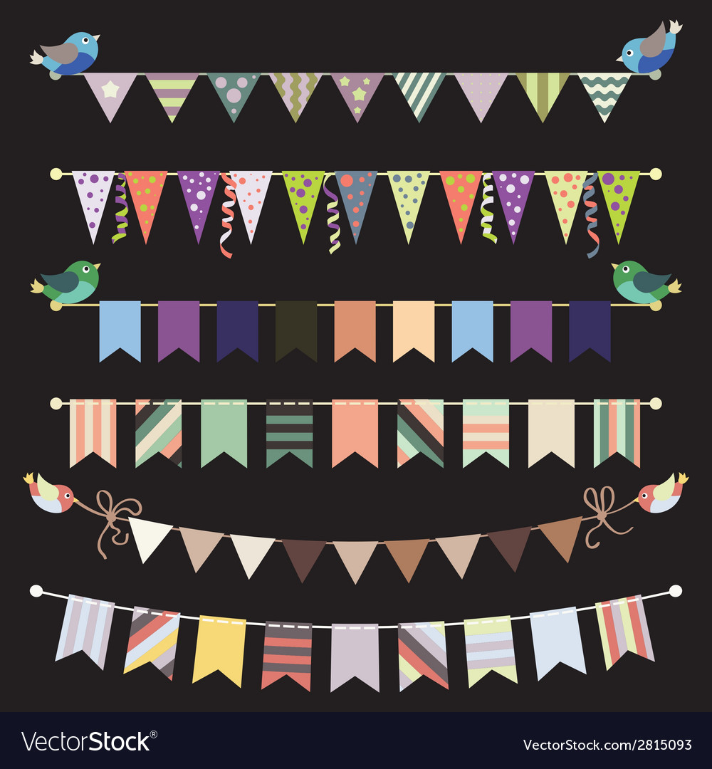 Retro bunting and garland set  template for design vector | Price: 1 Credit (USD $1)