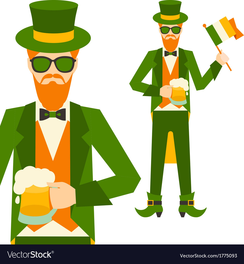 Saint patricks day with hipster leprechaun vector | Price: 1 Credit (USD $1)