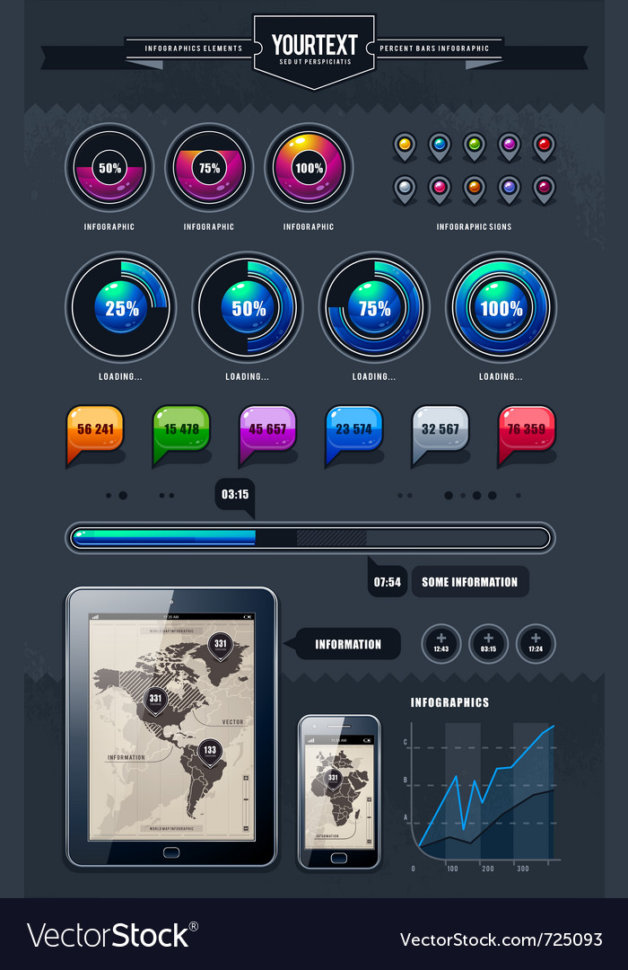 Set of infographics elements vector | Price: 3 Credit (USD $3)