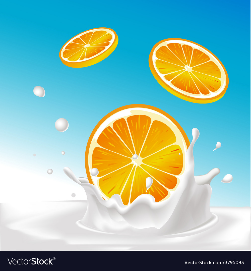 Splash of milk with orange fruit - with blue vector | Price: 1 Credit (USD $1)