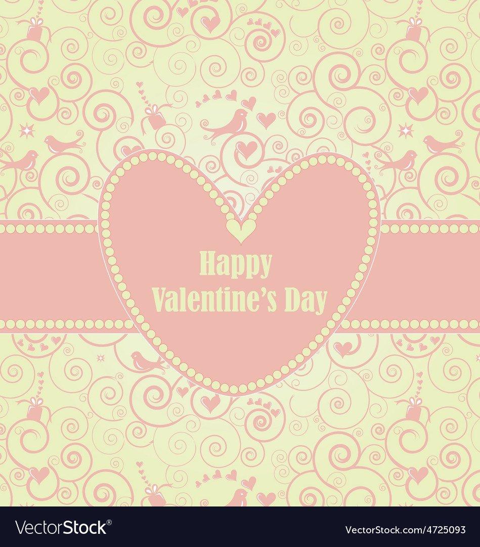 Sweet valentines day card in pink vector | Price: 1 Credit (USD $1)
