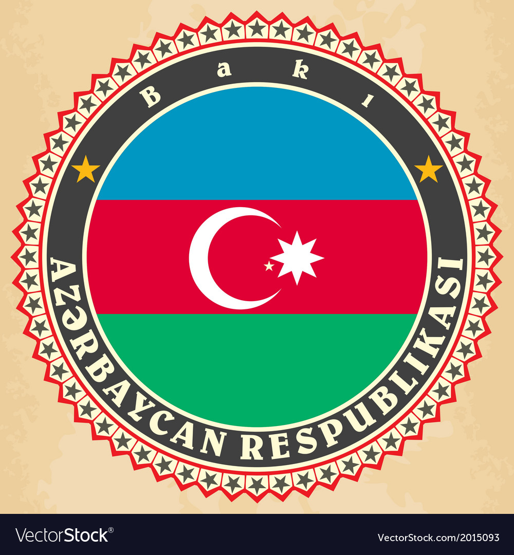 Vintage label cards of azerbaijan flag vector | Price: 1 Credit (USD $1)