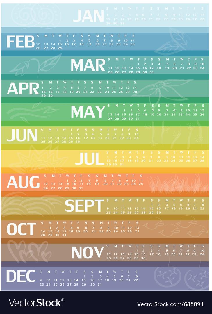 2012 rainbow calendar vector | Price: 1 Credit (USD $1)