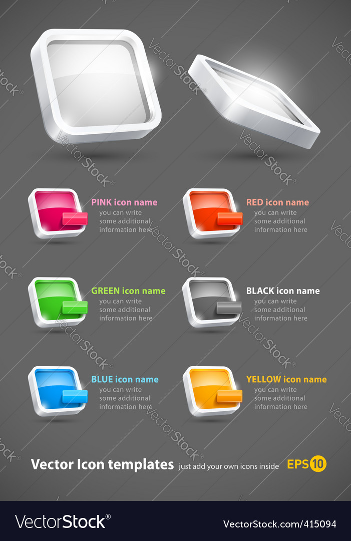 3d color icons set vector | Price: 1 Credit (USD $1)