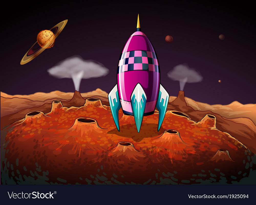 A rocket at the outerspace near the planets vector | Price: 3 Credit (USD $3)