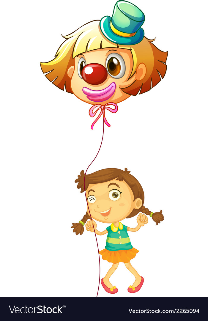 A young girl holding a clown balloon vector | Price: 1 Credit (USD $1)