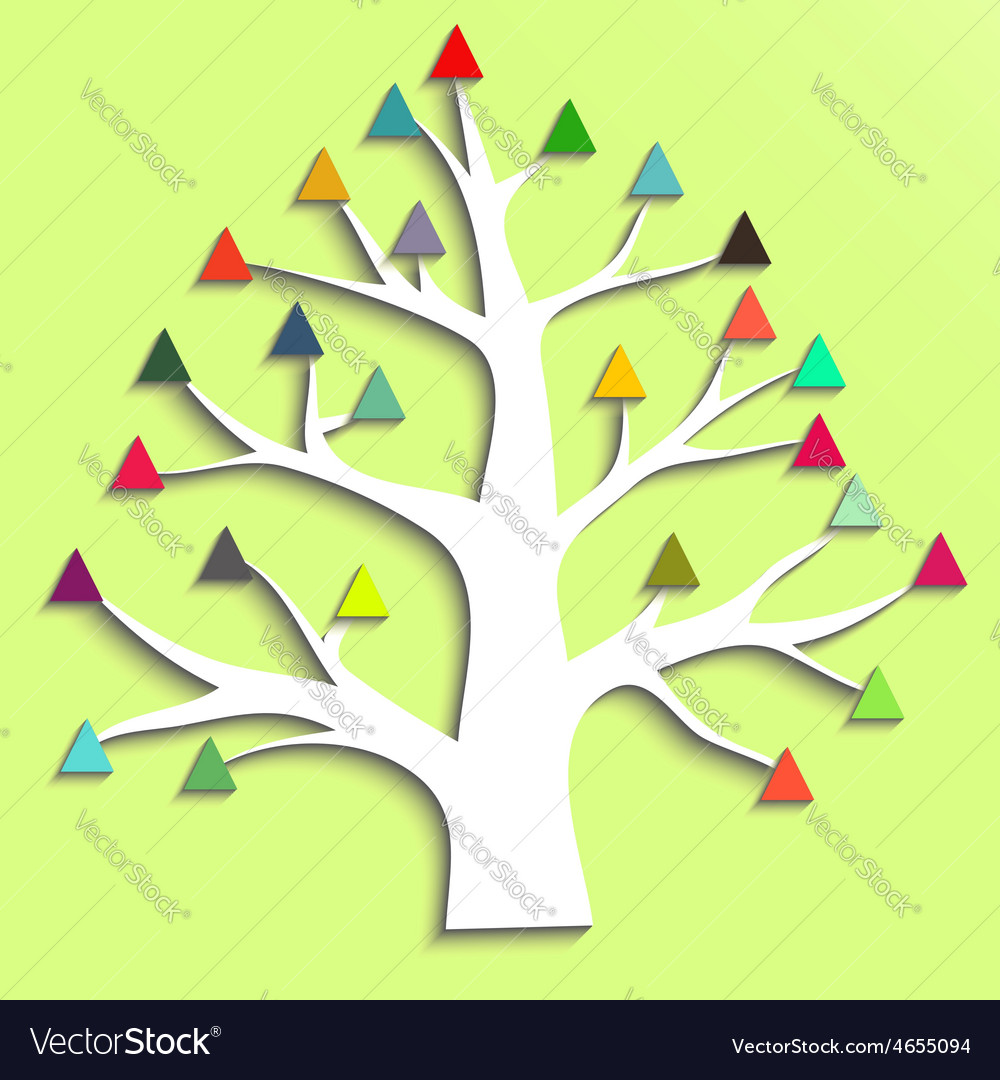 Abstract tree with colorful triangular leaves vector | Price: 1 Credit (USD $1)