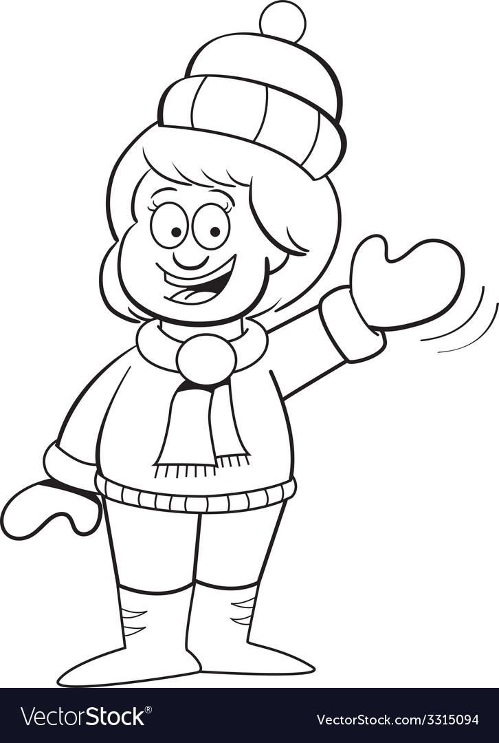 Cartoon girl in winter clothing waving vector | Price: 1 Credit (USD $1)