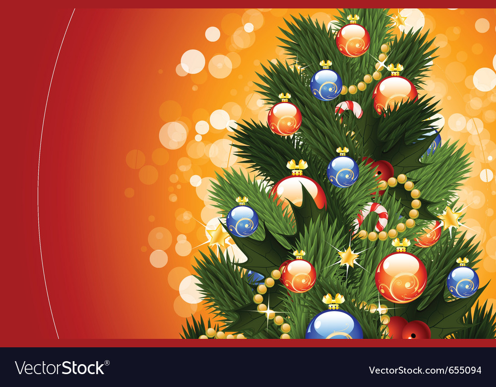 Christmas card with fir-tree vector | Price: 3 Credit (USD $3)