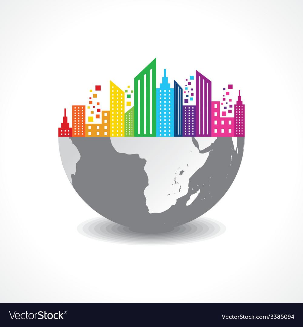 Colorful cityscape on half earth vector | Price: 1 Credit (USD $1)