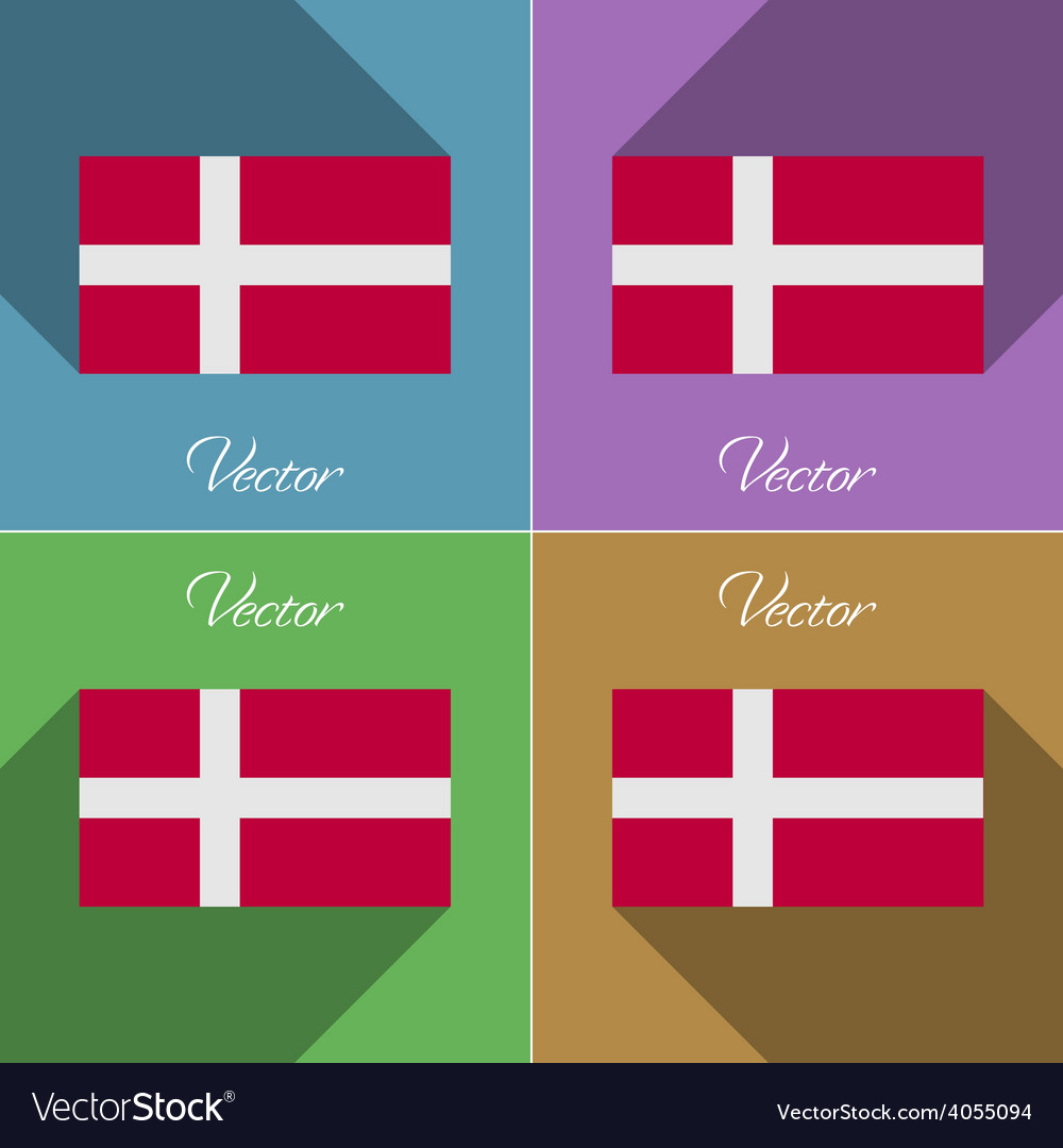 Flags denmark set of colors flat design and long vector | Price: 1 Credit (USD $1)