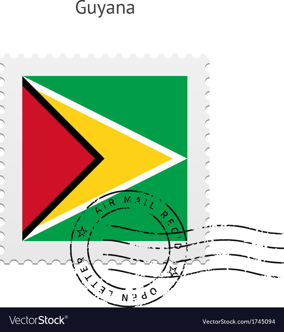 Guyana flag postage stamp vector | Price: 1 Credit (USD $1)