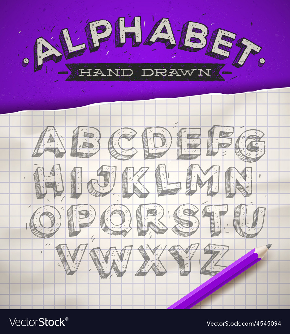 Hand drawn sketch font on a school notebook paper vector