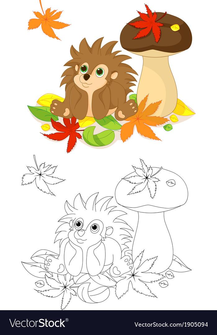 Hedgehog coloring page vector | Price: 1 Credit (USD $1)