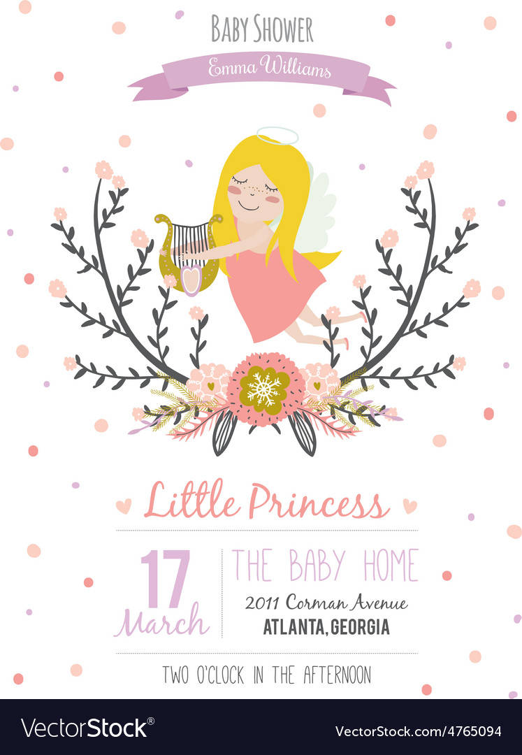 Romantic baby shower card for little girl vector | Price: 1 Credit (USD $1)